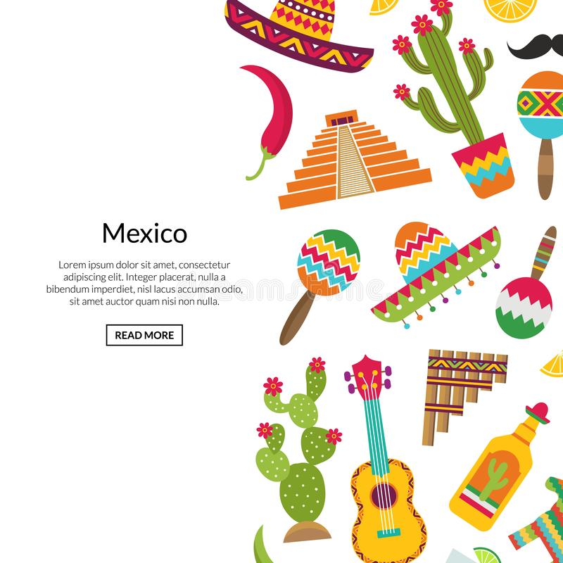 Vector flat Mexico attributes background with place for text illustration vector illustration