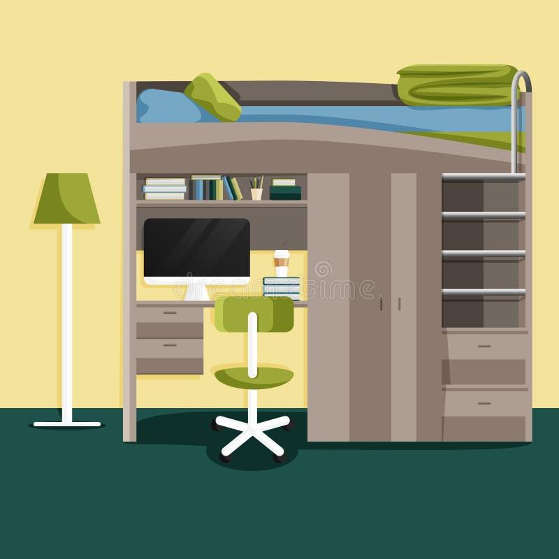 Vector Flat Modern Interior of Teenage Bedroom royalty free illustration