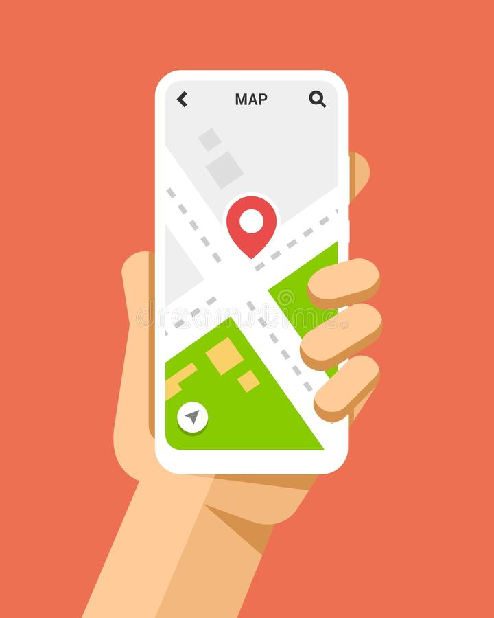 Hand holds the smartphone with navigation service. Flat vector modern phone mock-up illustration vector illustration