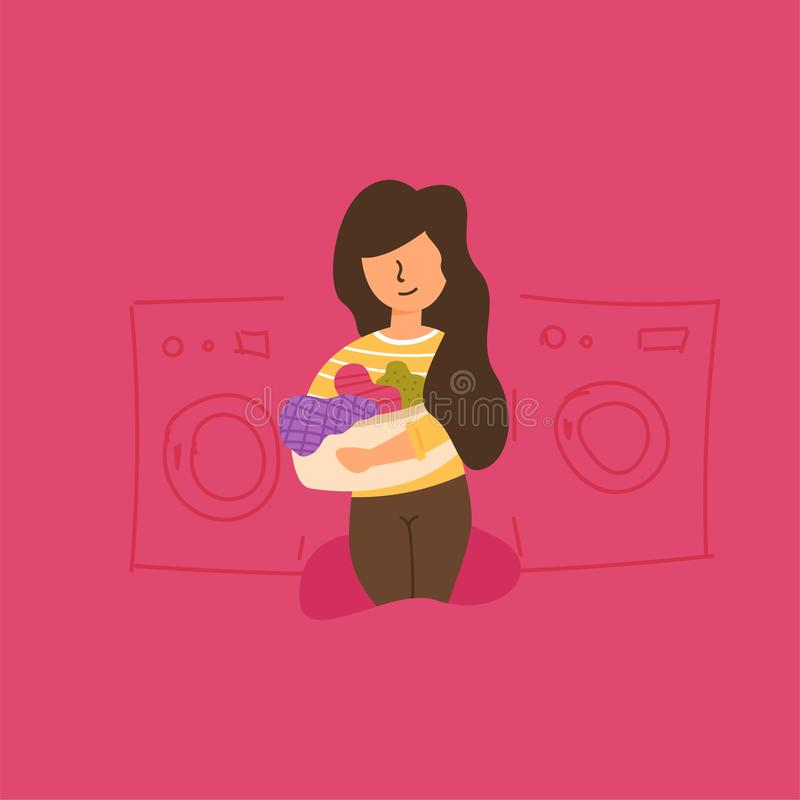 Vector Flat mom laundry basket carries clothes. Vector Flat mom holds in her hands ah the laundry basket carries clothes to the laundress picks up clean things royalty free illustration