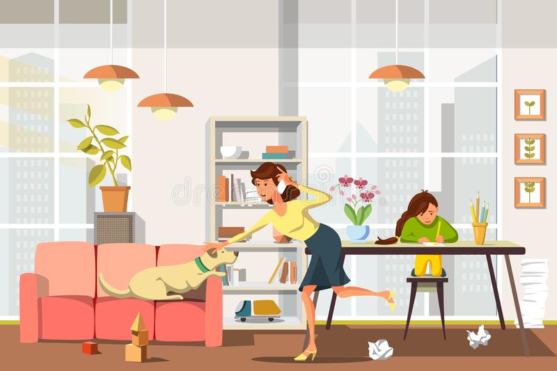 Vector Flat Mom is Very Busy Talking on Phone. stock illustration