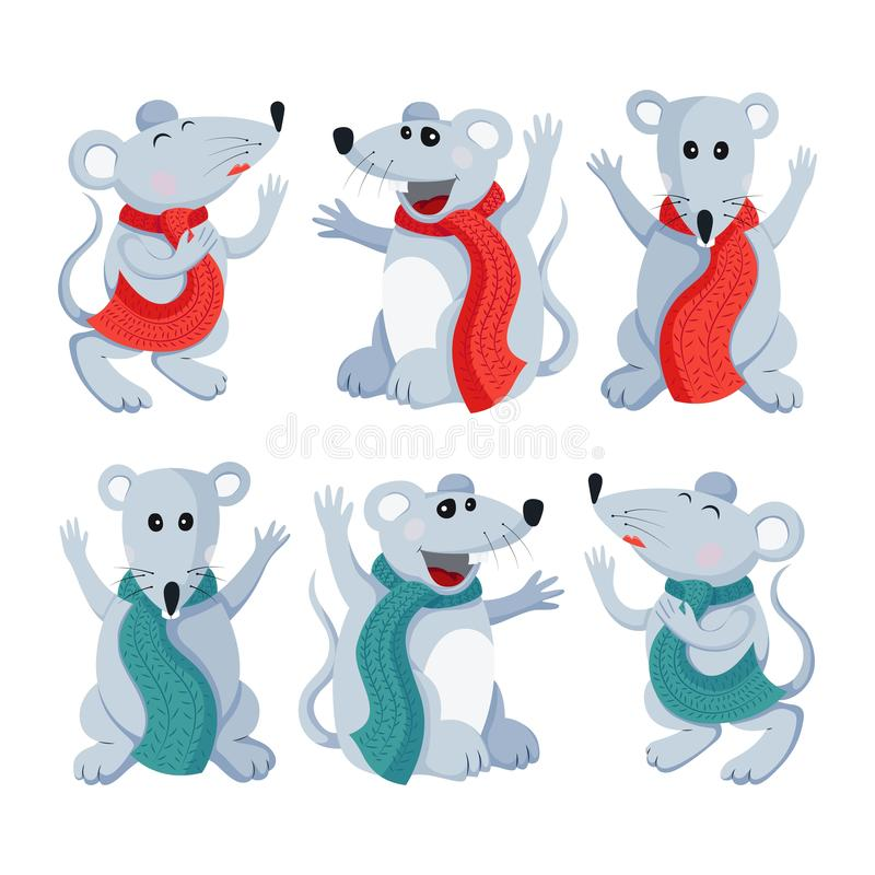 Vector flat mouse animal illustration set for Christmas and new year symbol stock illustration