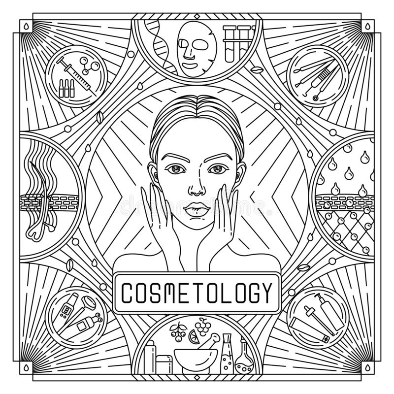 Vector flat, outline black and white design poster for skin care. Ads for Cosmetology with woman portrait, acne stock photos