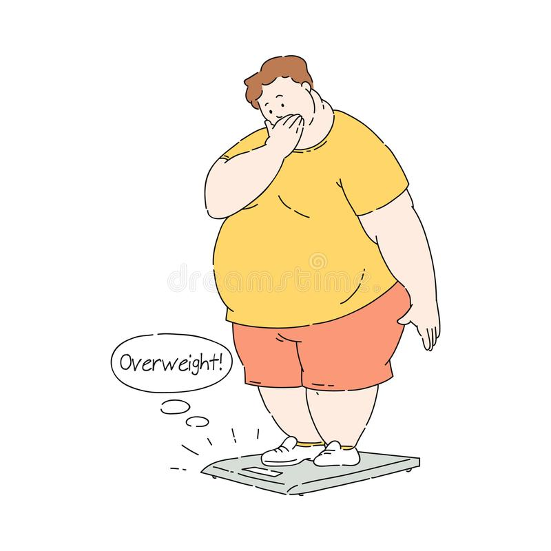Vector flat overweight obese unhappy man at scale royalty free illustration