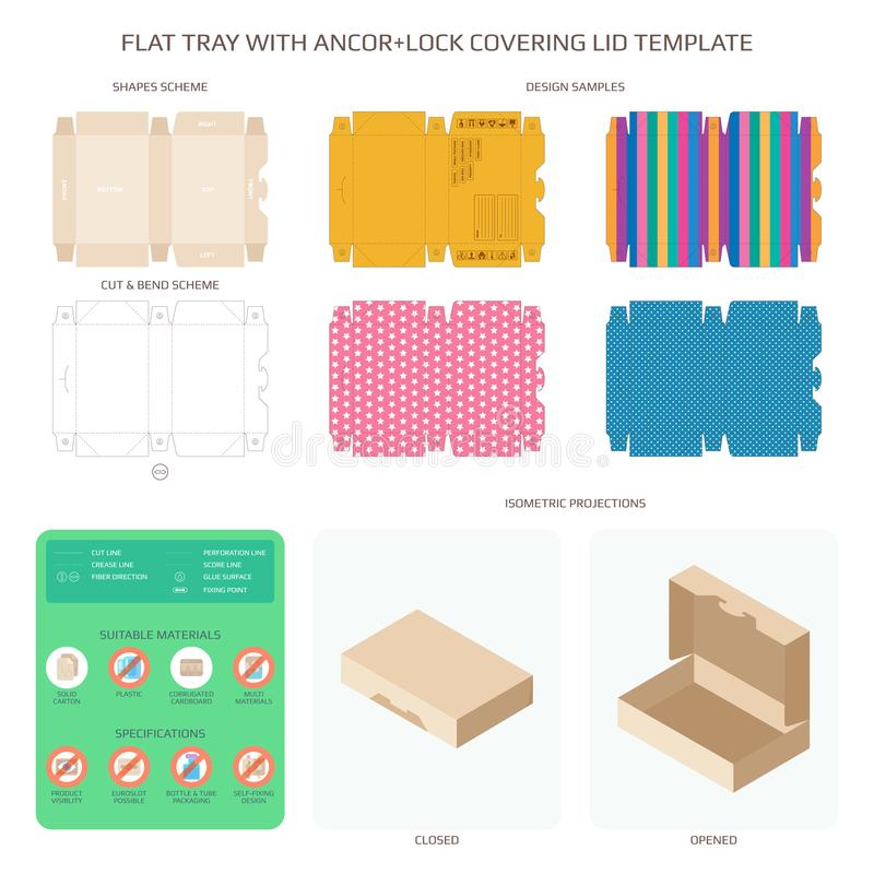 Vector flat packaging tray with anchor lock lid templates set stock illustration