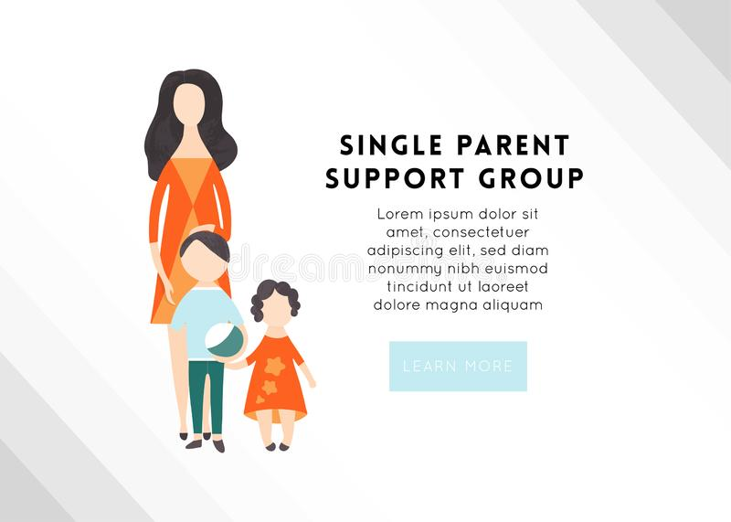Vector flat people characters. A single mom with two kids. royalty free illustration