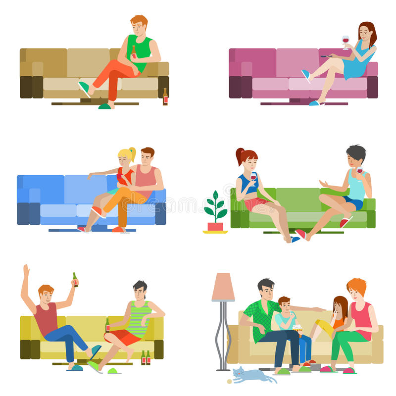 Vector flat people couple friends family sitting on sofa relax vector illustration