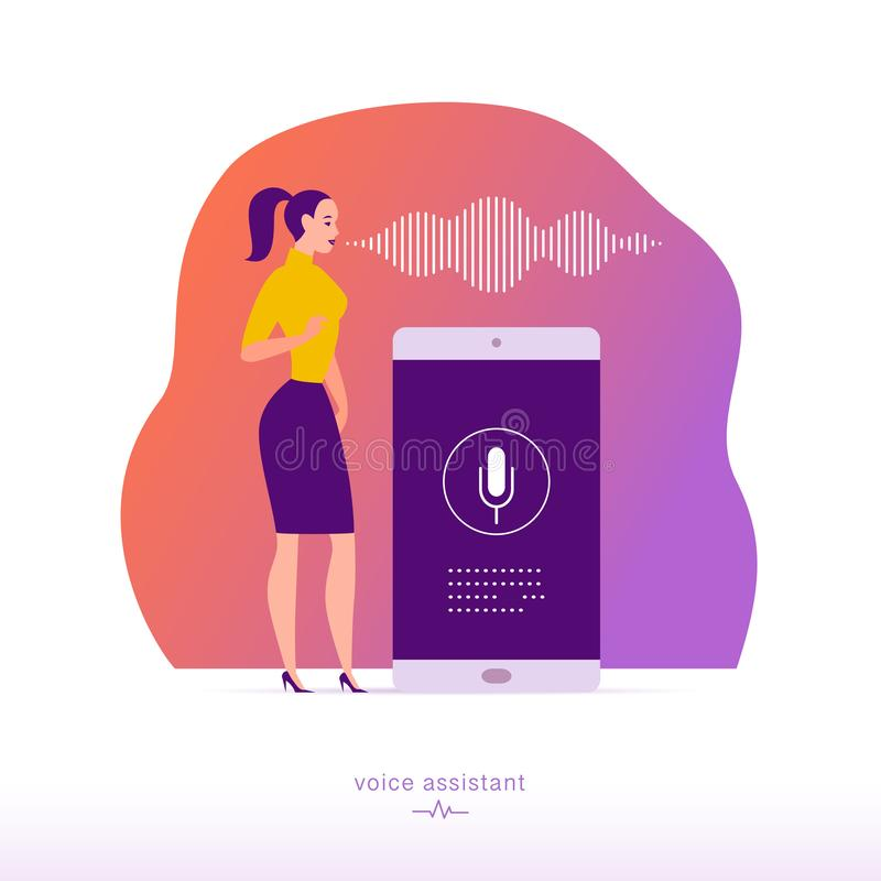 Vector flat personal online assistant illustration. Office girl with smartphone microphone dynamic icon, sound waves. UI, UX, mobile app, web site concept for stock illustration