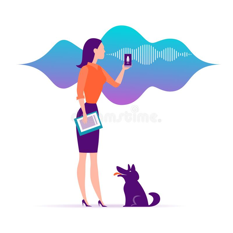 Vector flat personal online assistant illustration. Office girl with smartphone microphone dynamic icon, sound waves. royalty free illustration