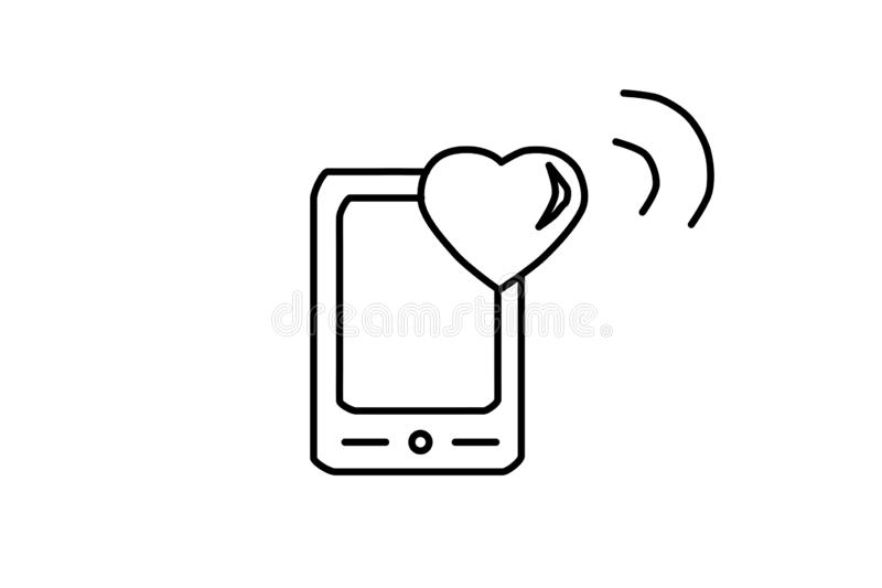 Vector Flat phone with heart icon. Cell phone symbol, telephone. Social media smartphone, sign love. Modern black illustration stock illustration