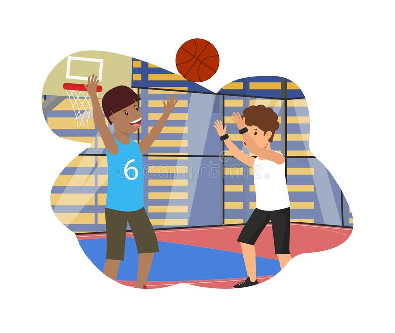 Vector Flat Physical Lesson Guys Play Basketball. Vector Flat Physical Education Lesson Guys Playing Basketball. Kid Throws Ball in Basket Training School stock illustration