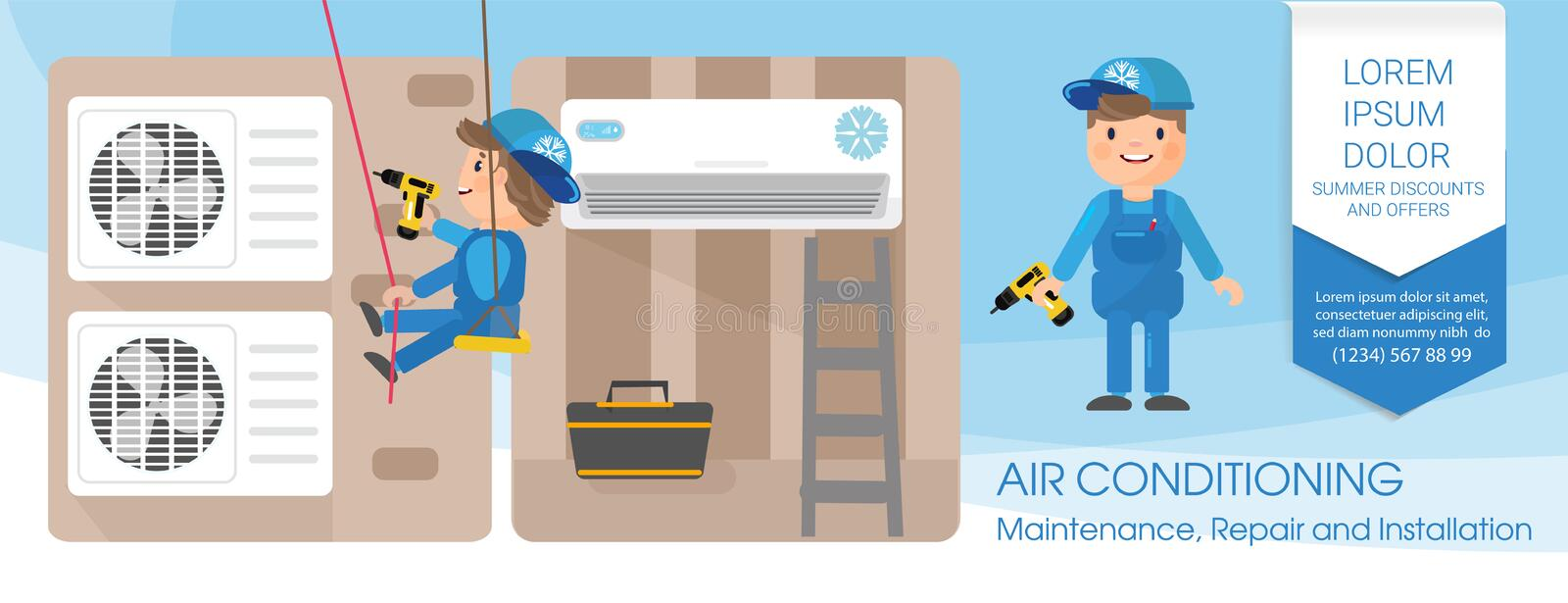 A vector flat picture specialists work with equipment. Installation or repair of air conditioner. A vector flat picture. Specialists work with equipment vector illustration