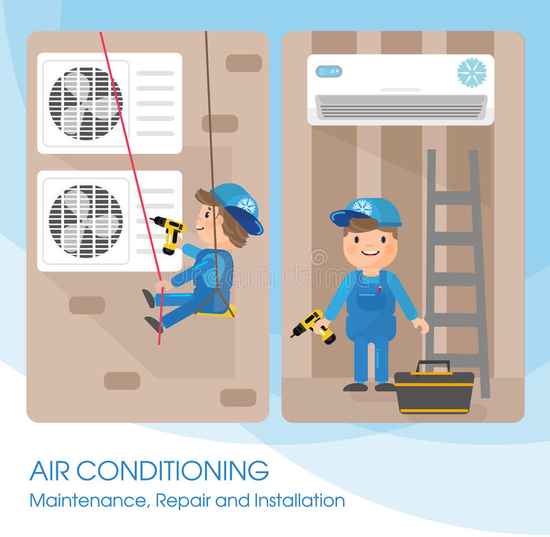 A vector flat picture specialists work with equipment. Installation or repair of air conditioner. Template for your billboard or banner royalty free illustration