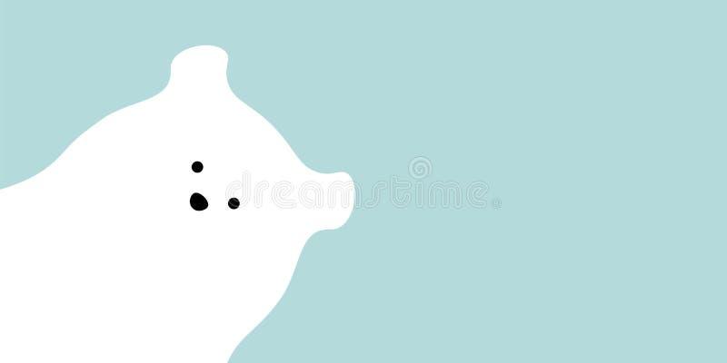 Vector flat polar bear illustration animal background. royalty free illustration