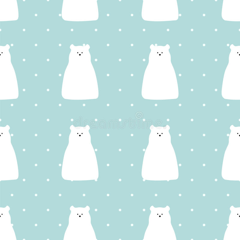 Vector flat polar bear illustration seamless pattern background. vector illustration