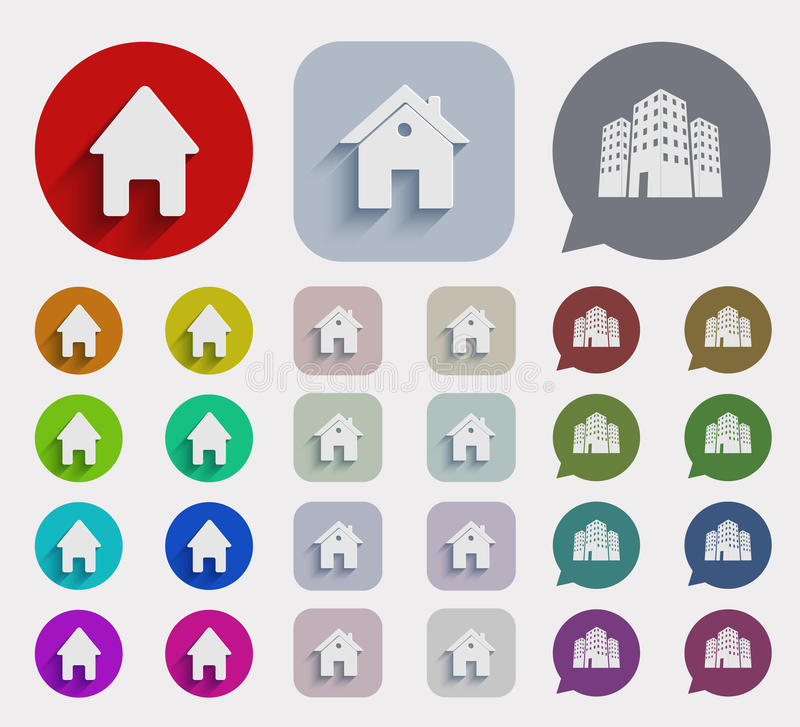 Vector flat real estate icons set stock illustration