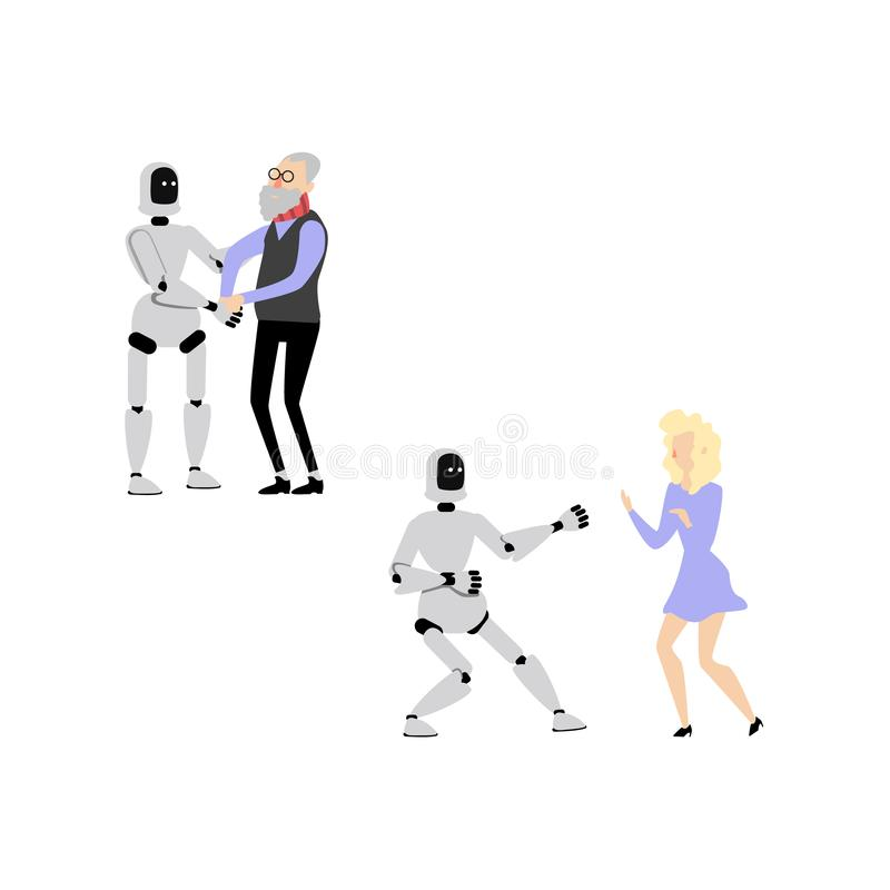 Vector flat robot assistant set stock illustration