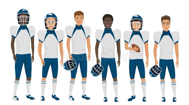 Vector flat school american football young guys team in uniform isolated. Vector flat school american football young guys team in uniform isolated vector illustration