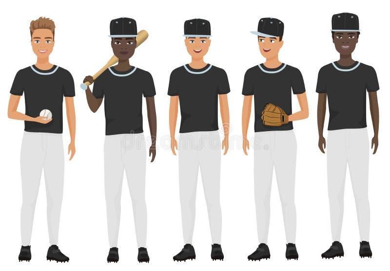 Vector flat school baseball guys team in uniform isolated. Vector flat school baseball guys team in uniform set stock illustration