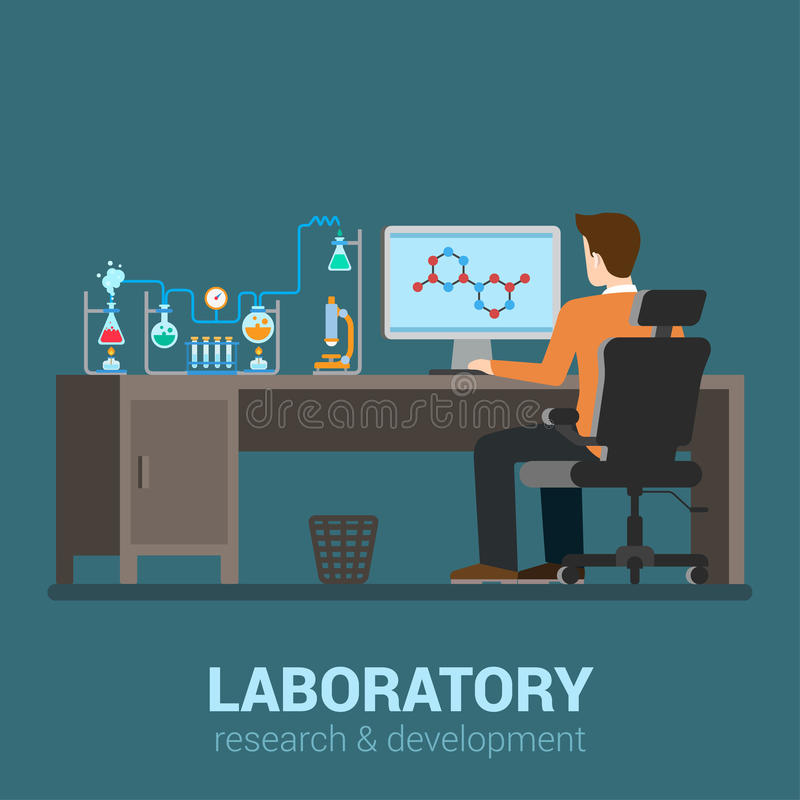 Vector flat science laboratory: lab worker workplace, chemical. Lab worker table computer chemical research process. Pharmaceutical pharmacology science royalty free illustration