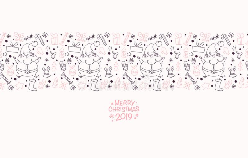 Vector flat seamless package design for New Year and Merry Christmas presents & stuff decoration with line art stock illustration
