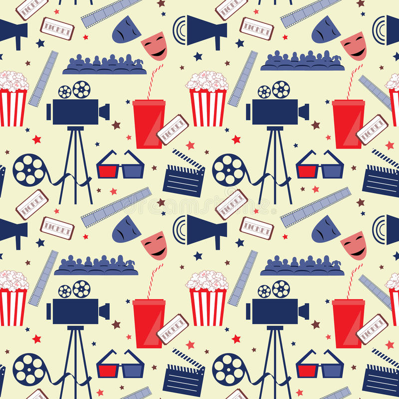 Vector flat seamless pattern with cinema attributes. Movie background royalty free illustration