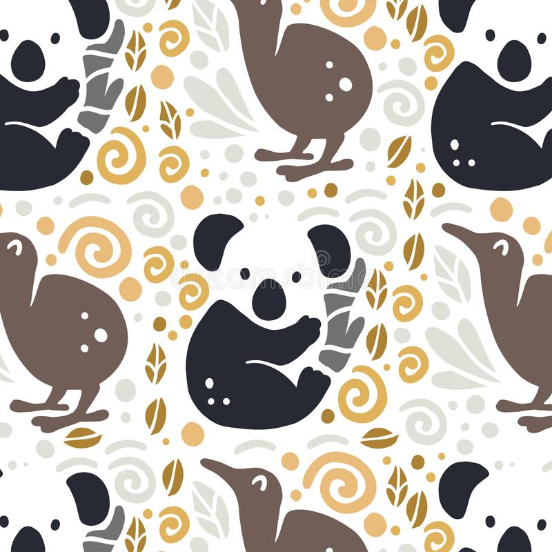 Vector flat seamless pattern with cute funny hand drawn animals silhouette isolated on white background. stock illustration