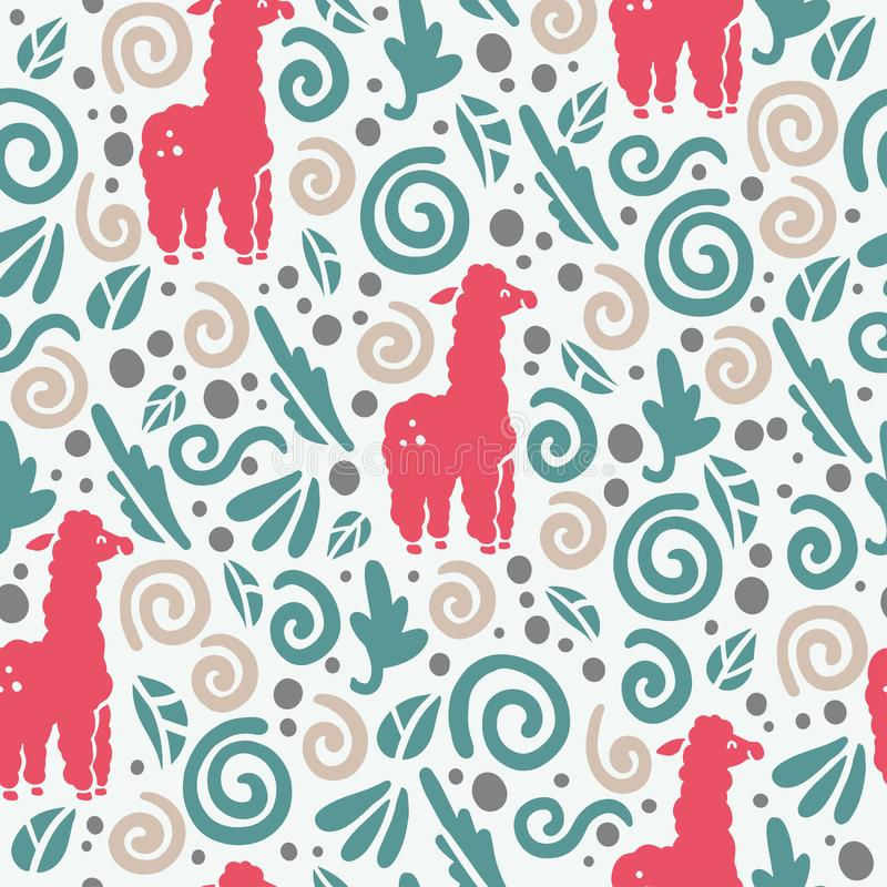 Vector flat seamless pattern with cute funny hand drawn lama animals silhouette and floral ornament isolated on white background. stock illustration