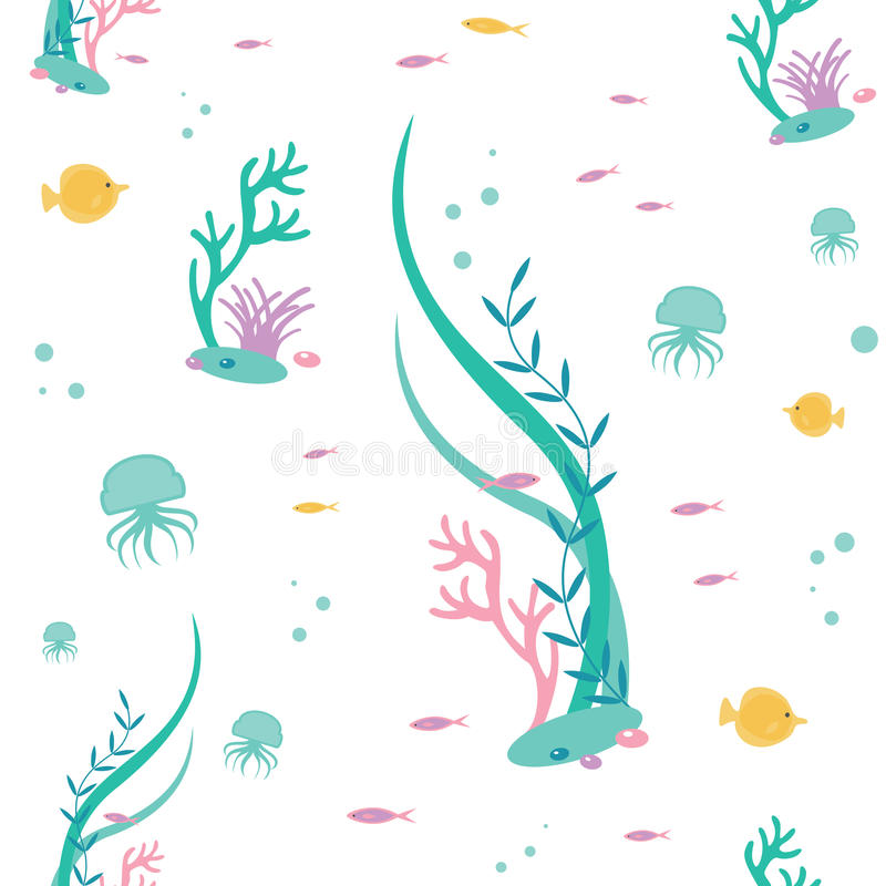 Vector flat seamless pattern of elements the underwater world. Illustration of deep tropical flora and fauna. Vector flat seamless pattern of elements the vector illustration