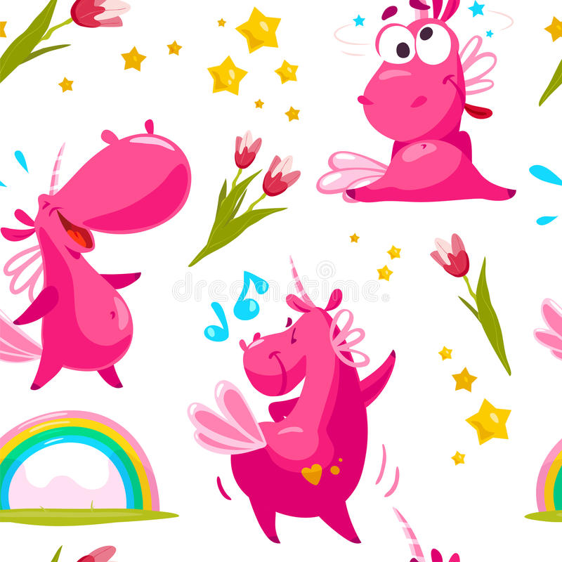 Vector flat seamless pattern with funny unicorn characters, stars, rainbow and spring tulip flower isolated on white background. Cartoon style. Package design stock illustration