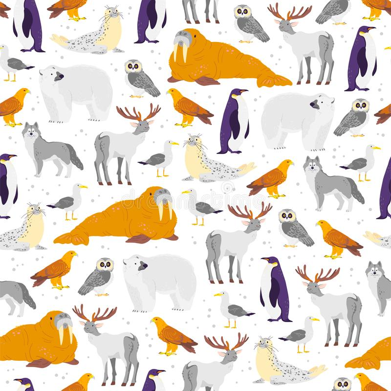 Vector flat seamless pattern with hand drawn north animals, fish, birds isolated on white background. Polar bear, owl, arctic fox. vector illustration