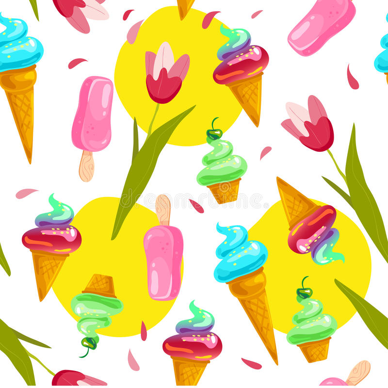 Free Vector Flat Seamless Pattern With Sweet Ice Cream Cones, Eskimo And Spring Tulip Isolated On White Background. Stock Images - 93546104