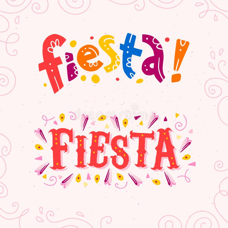 Vector flat set of fiesta lettering text isolated on white background with floral frame ornamen and hand drawn line art elements. vector illustration