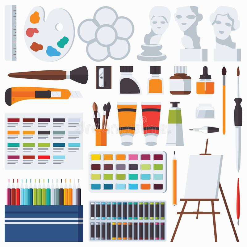Vector flat set with fine artist stationery. Watercolor, tempera, easel, palette, color pencils, gypsum head and other accessories. For art studio and drawing royalty free illustration