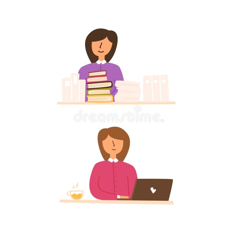 Vector flat set of girl sitting table working. Vector flat set of girl sitting at the table working and typing on a laptop. A woman reads books on self-education royalty free illustration