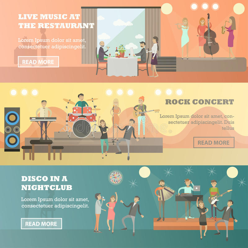 Vector flat set of musicians concept horizontal banners royalty free illustration
