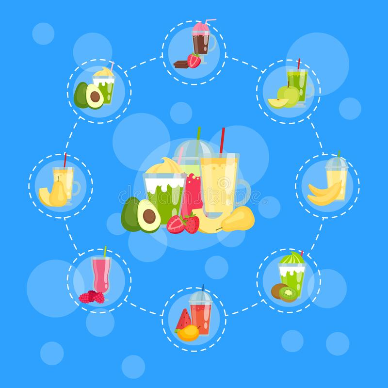 Vector flat smoothie elements infographic concept illustration royalty free illustration