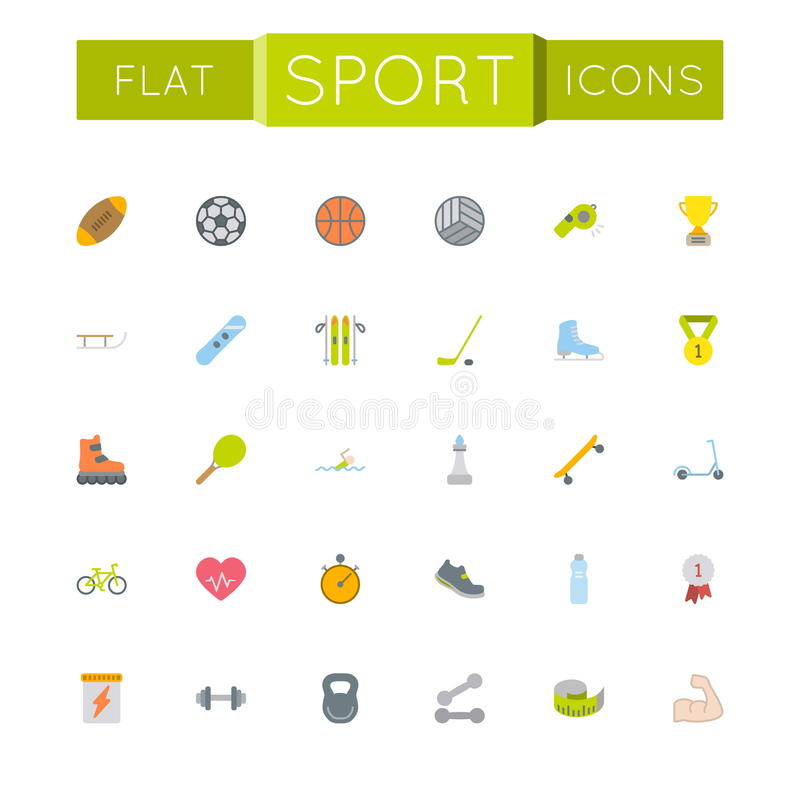 Vector Flat Sport Icons royalty free illustration