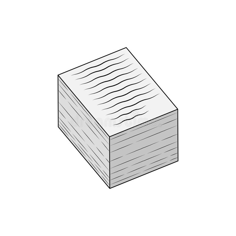 Stack of papers icon, isolated on white stock illustration