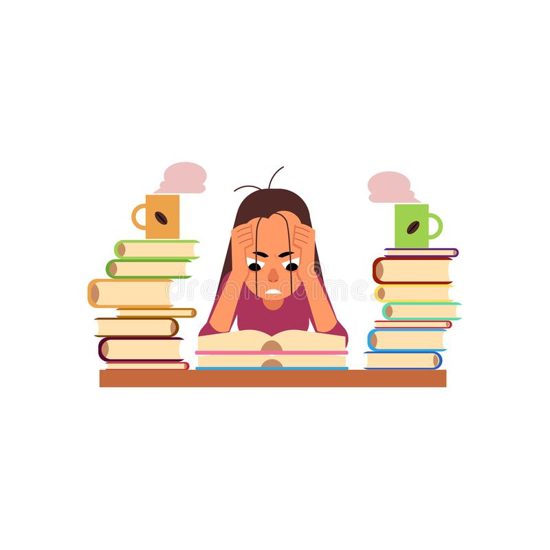 Vector flat stressed exhausted girl sitting books stock illustration