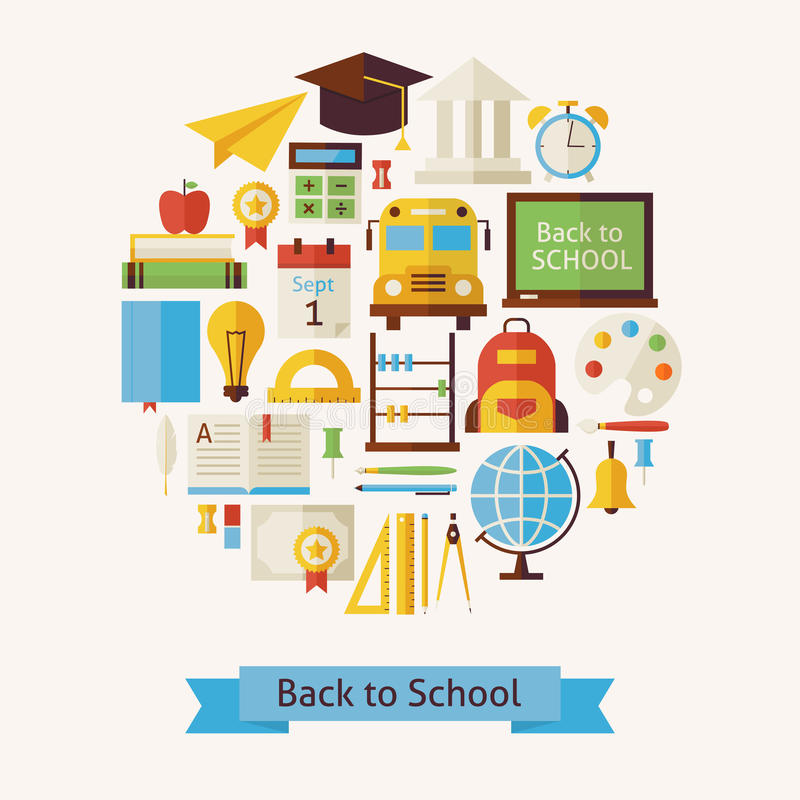 Vector Flat Style Back to School and Education Objects Concept royalty free illustration