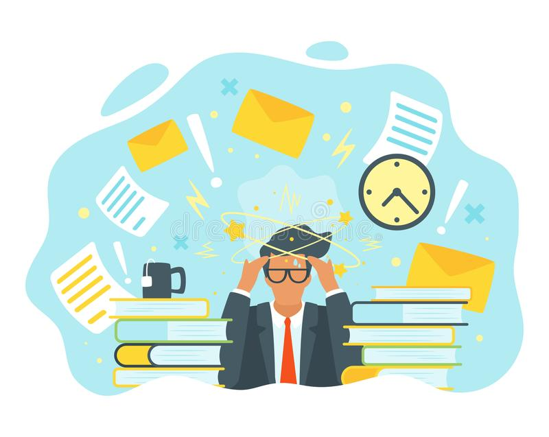 No idea concept. Vector flat style businessman having trouble with thinking. No idea concept. Man with the stars spinning around his head. Too many tasks and stock illustration