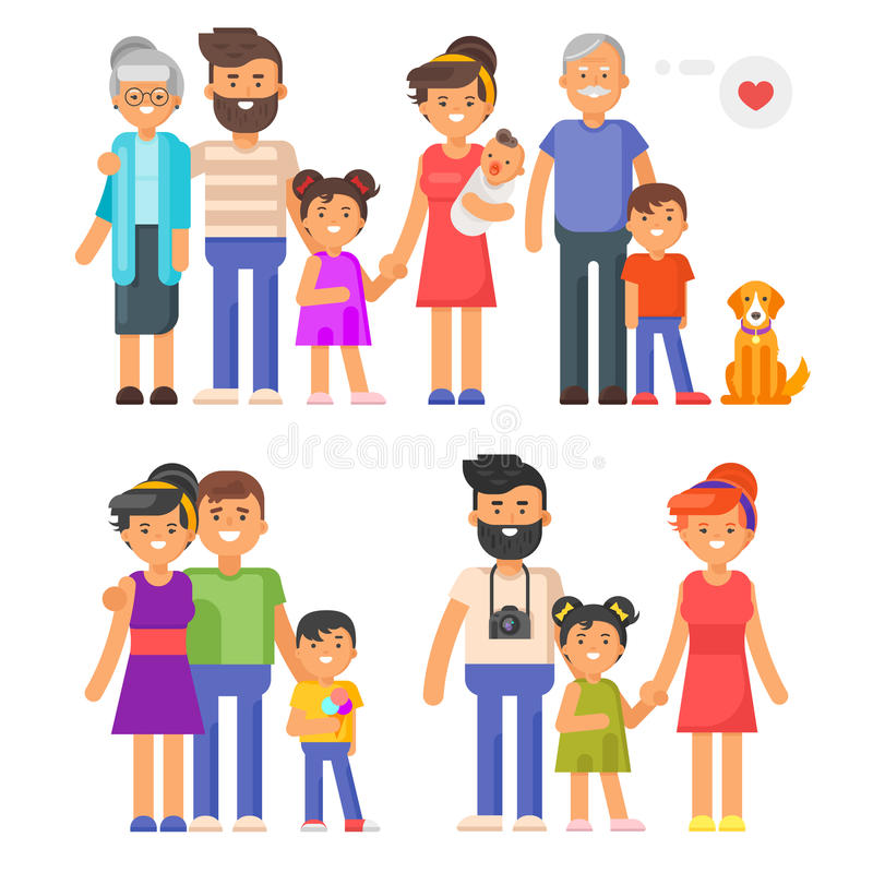 Vector flat style family set. Parents, grandparents, kids. Isolated on white background stock illustration