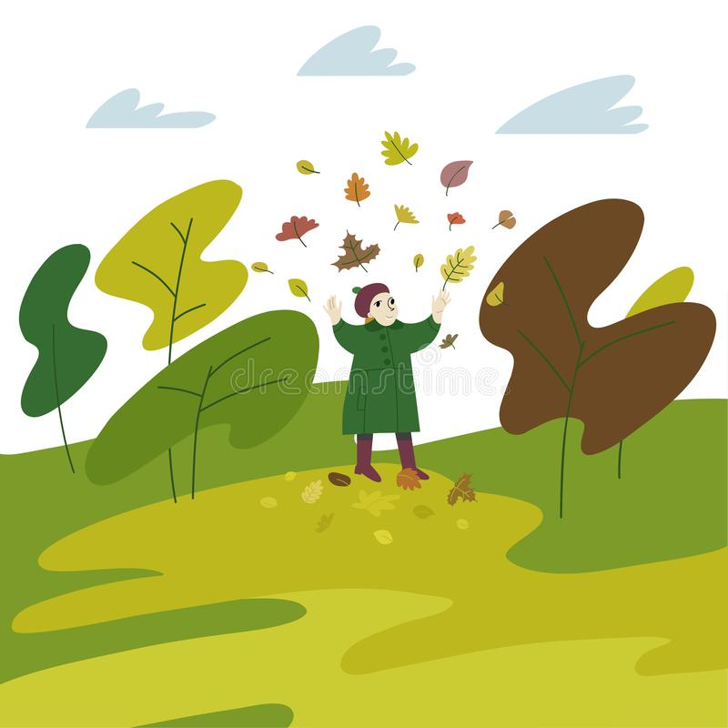 Vector flat style illustration of autumn - happy girl playing in the leaves in autumn park. stock photography