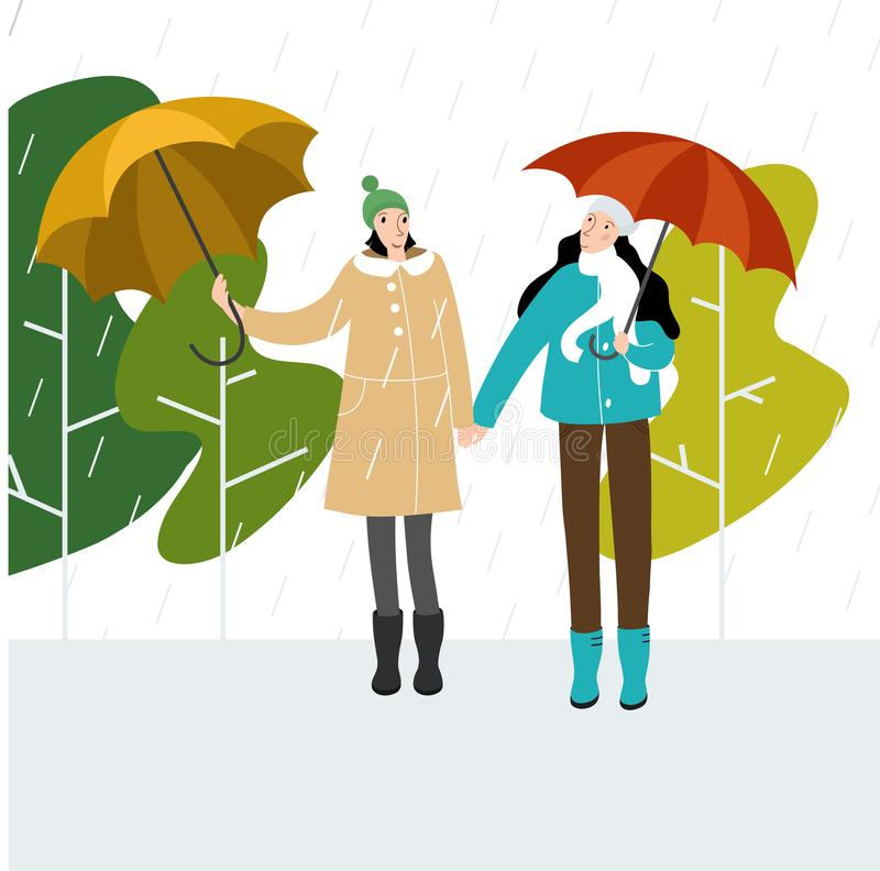 Vector flat style illustration of autumn - happy girlfriends under umbrellas in autumn park playing in the leaves in autumn park. stock photography