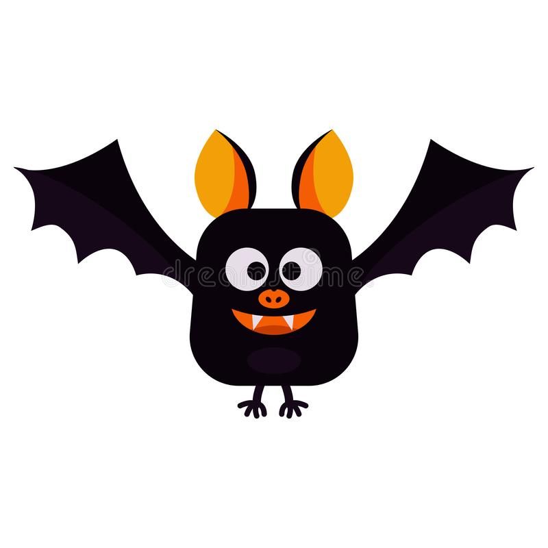 Vector flat style illustration - cartoon cute smiling and flying Happy Halloween black bat isolated on white background. royalty free illustration