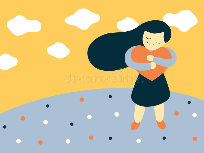 Vector flat style illustration of a cartoon girl hugging a big heart shape stock illustration