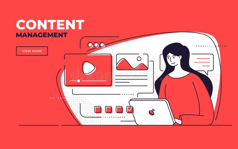 Vector flat style illustration on a content management, seo, website development royalty free stock images