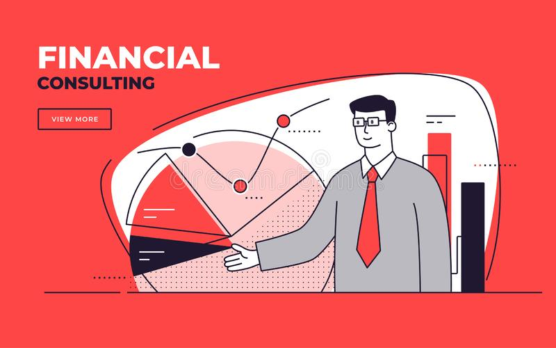 Vector flat style illustration on a financial consulting, business analysis, investment stock photo