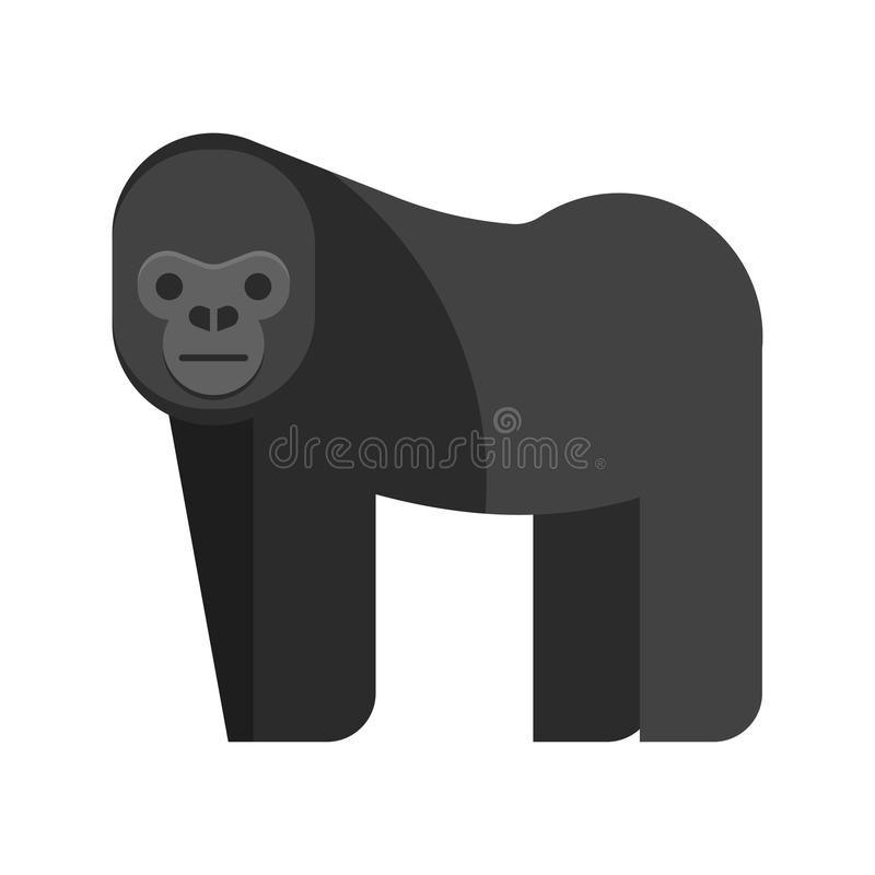 Vector flat style illustration of gorilla. Icon for web. Isolated on white background vector illustration